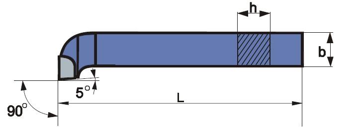 Homlokélű esztergakés, forrasztott lapkás, ISO 5