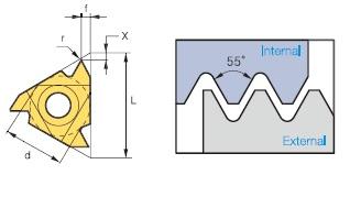 V – profilos (részprofilos) belső menetlapka, 55°-os